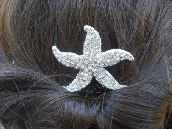bridal hair comb, Starfish Collection Version 3, Silver Rhinestone Hair Comb, Starfish Bridal Hair Comb, Vintage Style, Wedding Hair Comb