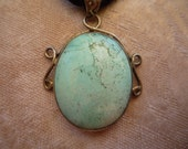 Genuine Turquoise Cabochon, Sterling and Silk Rope Necklace