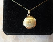 "Solid 14K yellow gold vintage locket with diamond - inscribed ""Sarah"""
