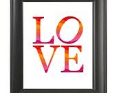 Poster Print Love Wall Art Stripe, Home Decor 8X10