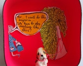 And then she left me tied to a tree...Diorama Shadowbox Neon Pink Kitschy Vintage Dog Figurine