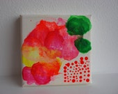 Clear Blurr.....Original Mini Painting Acrylic on Canvas, hot neon pink, orange yellow and green