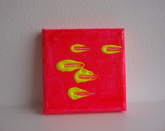 Let's Go....Original Mini Painting Acrylic on Canvas, hot neon pink and neon yellow