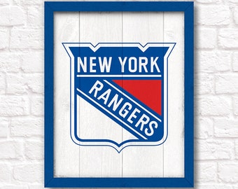 Handmade New York RANGERS hockey sign - NY Rangers fan wall hanging - Boys room or man cave decor - Fathers Day gift for Dad
