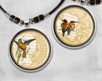 1x1inch Digital Collage Sheet - Circle Images - Printable Download for jewelry pendants, magnets or paper crafts - VINTAGE BIRDS