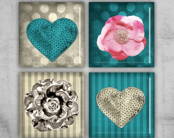 1x1 inch Square Necklace - Digital Collage Sheet - Best for jewelry pendants, magnets, gift tags - instant downlaod - GLITTER