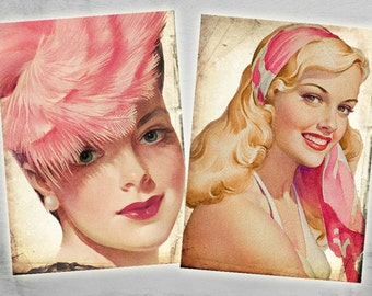Pinup - Greeting Cards 2.5x3.5inch - Digital Collage Sheet - Printable Download - Craft Supply - PINUP FACES