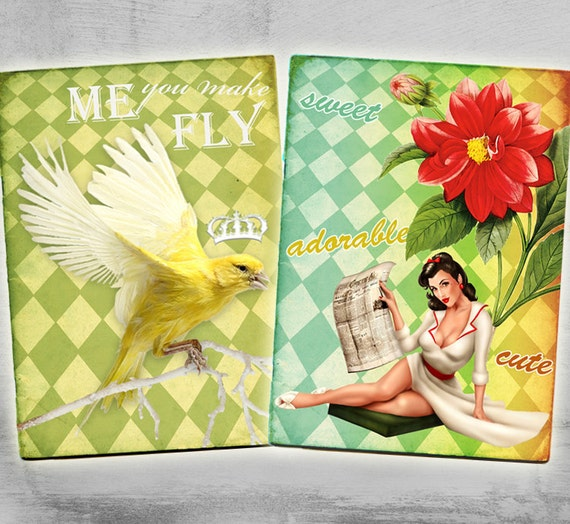 Pinup - Greeting Cards 2.5x3.5inch - Digital Collage Sheet - Printable Download - Craft Supply - COLORFUL GIRLS