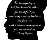 Beautiful-  Printable Audrey Hepburn Quote Art Print, Simple Black and White Silhouette