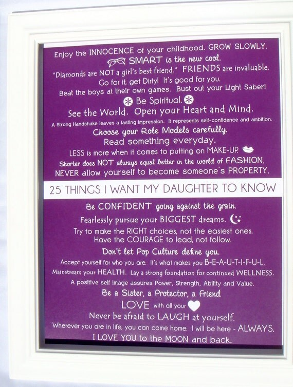 Mommy OM art prints. Kids Wall Art. 25 things i want my daughter to know 8.5x11 PRINT