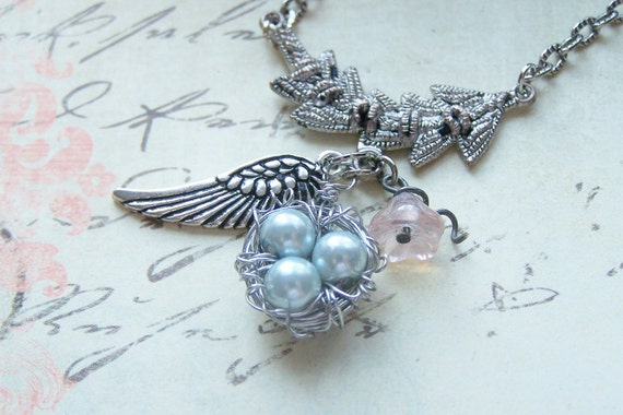 UNDER HIS WINGS Birds Nest Necklace Wing Charm with Handmade Card Scripture Inspired Ps 91:4 Birds Nest Gift