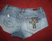 Studded cross cuttoff shorts