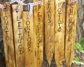 Outdoor Garden Markers, Garden Stakes, Plant Markers, Rustic, Primitive, Handmade Wooden Markers