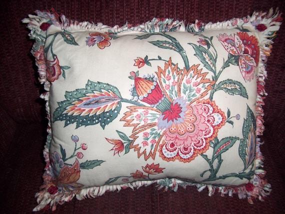 Handmade DECORATIVE PILLOW In Beautiful DESIGNER Fabric, Reds and Greens