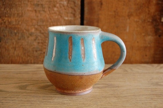 turquoise and copper mug with vertical stripes RESERVED for Joy Gilmour