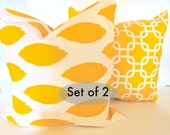 Sale THROW PILLOWS SET Of 2 16x16 Yellow Decorative Throw Pillows  16x16 Ikat  Pillow Covers Contemporary  Fabric front & back