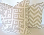 TAN THROW PILLOWS Set of- 2  Tan 18x18 Chevron Decorative Throw Pillows 18 x 18 Taupe Throw Pillow Cover Home and Living Say it with pillows