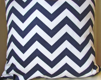 THROW PILLOW COVERS Navy Blue Chevron Pillow 16x16 Decorative Throw Pillows 16x16 Dark Blue Pillow  zig zag Home and Living