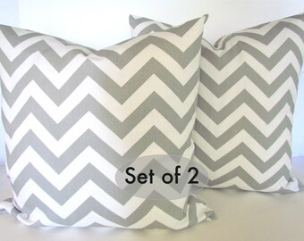 PILLOWS CHEVRON Pillow Set of 2. Grey Decorative Throw Pillow Covers 18x18 Gray Chevron Pillows Home decor  Home and Living