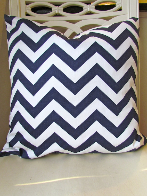 Navy Blue Throw Pillow Covers : THROW PILLOW COVERS Navy Blue Chevron Pillow by SayItWithPillows
