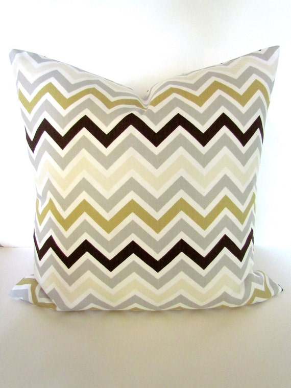 Decorative Throw Pillows Etsy : Items similar to CHEVRON PILLOW Covers Grey Decorative Throw Pillows Gold Chevron Pillows 18x18 ...