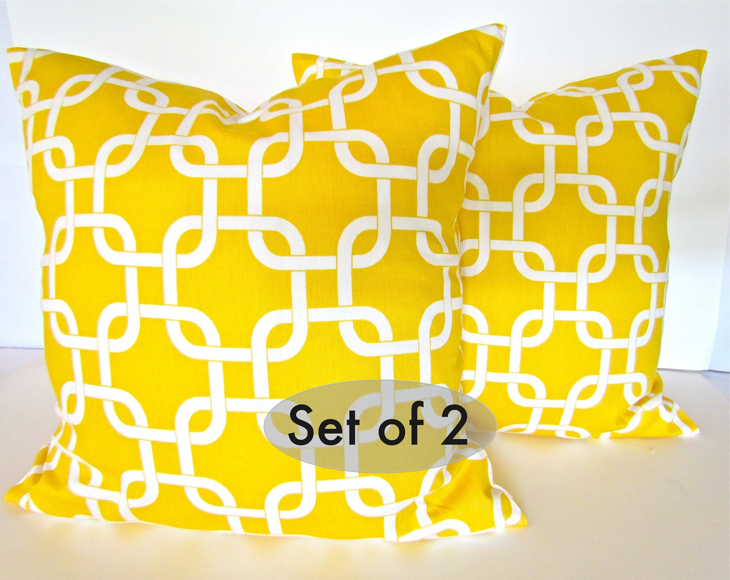 Etsy Yellow Throw Pillow : Items similar to YELLOW PILLOWS SET Of 2 - 20x20 Decorative Throw Pillow Covers Yellow Throw ...