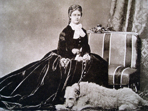 Vintage Print Photograph of  Victorian Lady with Dog