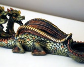 3 Headed Dragon Custom Hand Painted Incense burner, holds sticks and cones