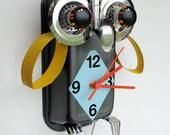 Mrs Mimizuku Owl Clock - yellow and blue