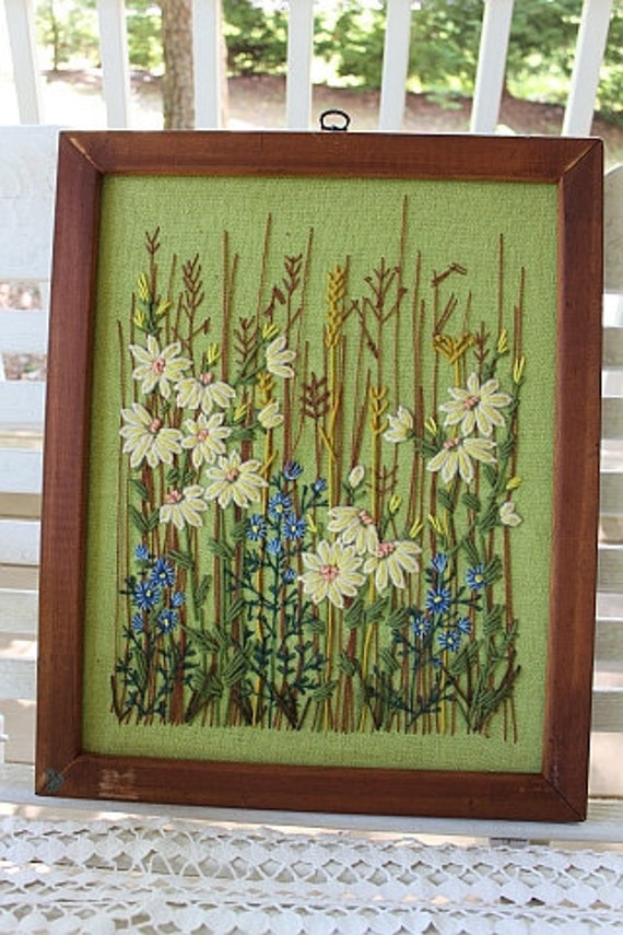 Crewel Embroidery Wall Hanging In Wood Frame