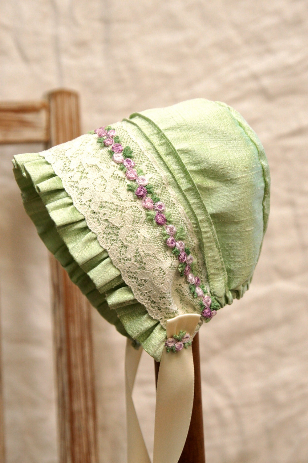 Silk And Lace Baby Bonnet Infant Photo Prop Vintage