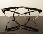Cat Eye Glasses Black Frames 12K GF Art Craft Vintage Cateyes