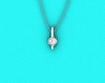 14K white gold 0.34ct diamond pendant