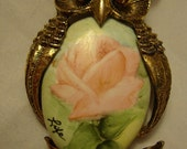 Vintage Own Pin or Pendant with Rose Painted Porcelain Center