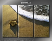 Framed Huge 3 Panel Beach Sand Smooth Giclee Canvas Print - Ready to Hang