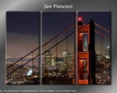 Framed Huge 3 Panel San Francisco Golden Gate Bridge Giclee Canvas Print - Ready to Hang