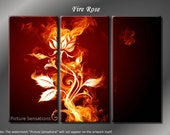 Framed Huge 3 Panel Modern Abstract Floral Fire Rose Giclee Canvas Print - Ready to Hang