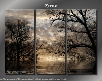 Framed Huge 3 Panel Digital Landscape Art Revive Giclee Canvas Print - Ready to Hang