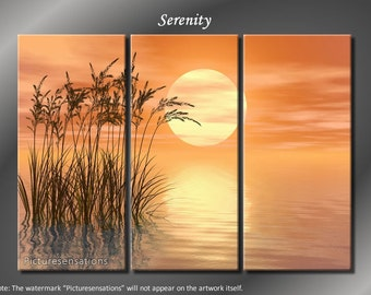 Framed Huge 3 Panel Digital Art Ocean Serenity Giclee Canvas Print - Ready to Hang
