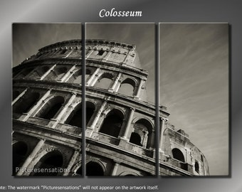 Framed Huge 3 Panel Art Ancient Rome Italy Colosseum Giclee Canvas Print - Ready to Hang