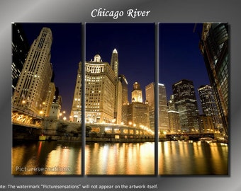 Framed Huge 3 Panel City Skyline Downtown Chicago River Giclee Canvas Print - Ready to Hang
