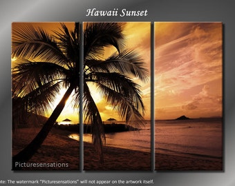 Framed Huge 3 Panel Palm Tree Sunset Beach Hawaii Giclee Canvas Print - Ready to Hang