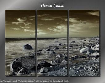 Framed Huge 3 Panel Seascape Art Ocean Coast Giclee Canvas Print - Ready to Hang