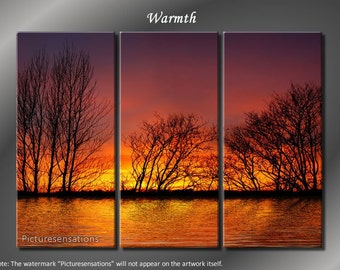 Framed Huge 3 Panel Tree Silhouette Warm Sunset Giclee Canvas Print - Ready to Hang