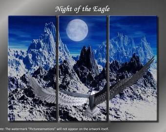 Framed Huge 3 Panel Night of the Eagle Giclee Canvas Print - Ready to Hang