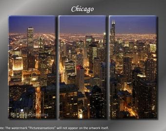 Framed Huge 3 Panel Modern City Art Chicago Skyline Giclee Canvas Print - Ready to Hang
