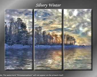Framed Huge 3 Panel Snow Silvery Winter Giclee Canvas Print - Ready to Hang