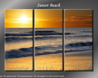 Framed Huge 3 Panel Ocean Wave Sunset Beach Giclee Canvas Print - Ready to Hang