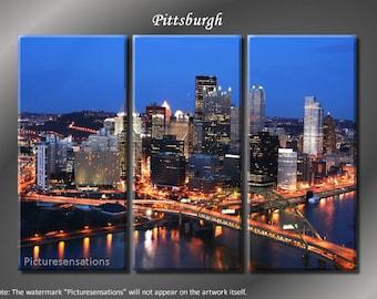Framed Huge 3 Panel City Bridge Skyline Pittsburgh Giclee Canvas Print - Ready to Hang