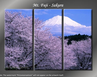 Framed Huge 3 Panel Mountain Cherry Tree Mt. Fuji Sakura Giclee Canvas Print - Ready to Hang
